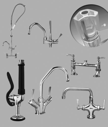 A graphic showing sprays and faucets for the kitchen.